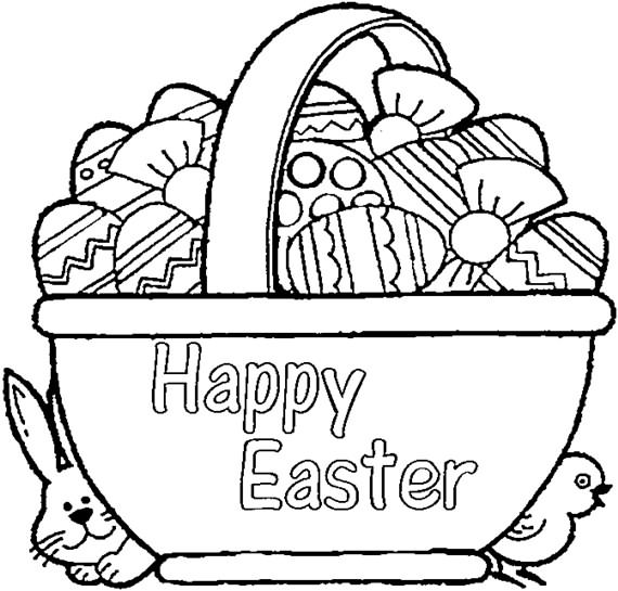 Cute Easter Bunny and Eggs coloring page | Free Printable Coloring ... | 545x570